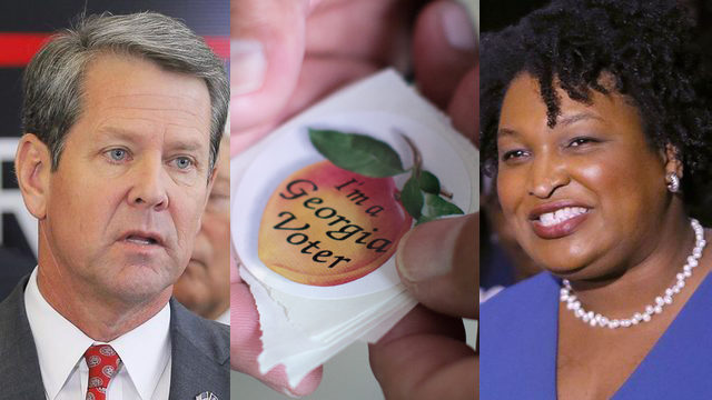 These are the two candidates running for Georgia governor, Kemp (left) and Abrams (right).