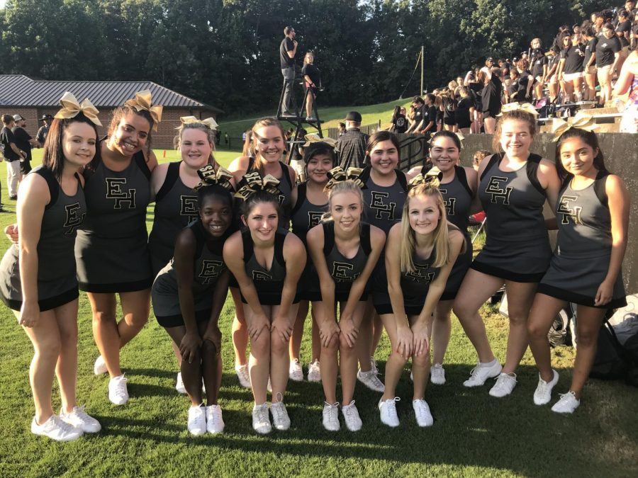 East Hall Football Cheerleaders at one of their home games.
